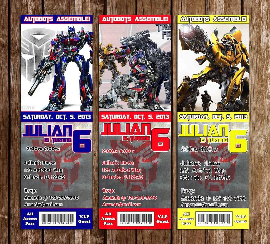 transformers movie birthday party ticket invitation