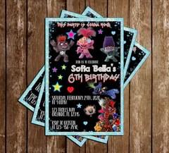 trolls world tour glitter birthday party invitation