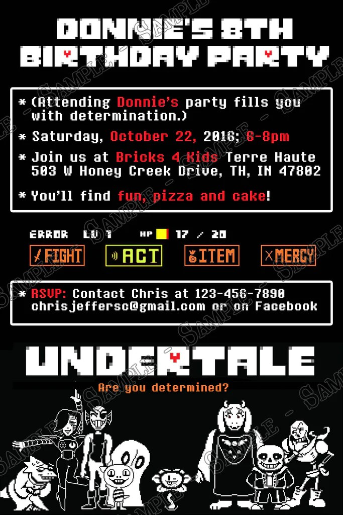 Novel Concept Designs Undertale Video Game Birthday