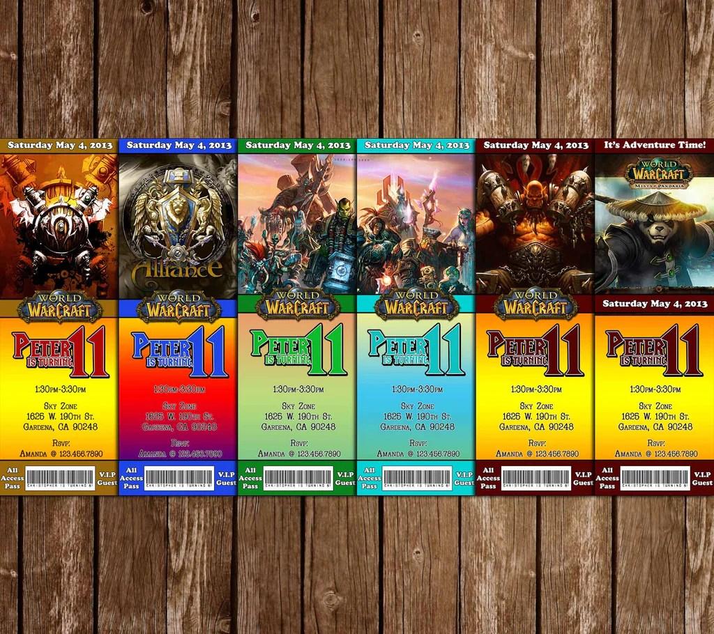 world of warcraft ticket birthday party invitation