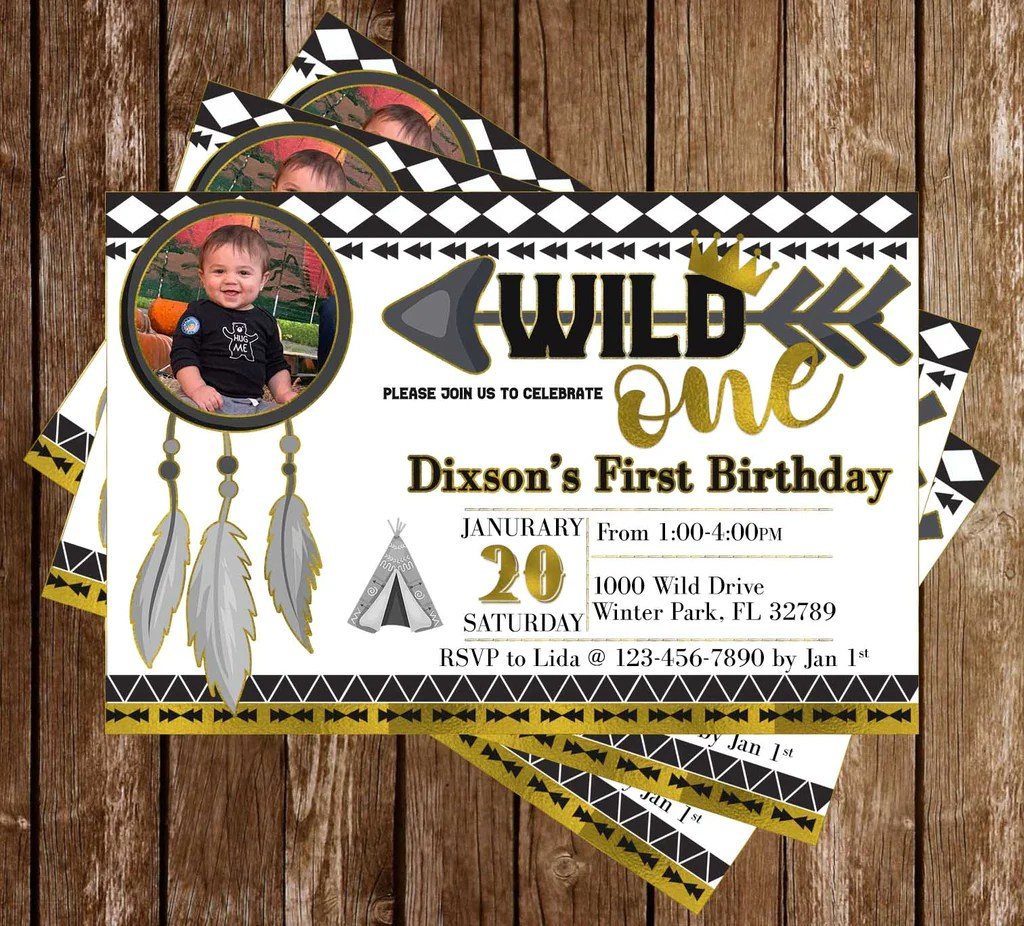 wild one 1st birthday birthday party invitation