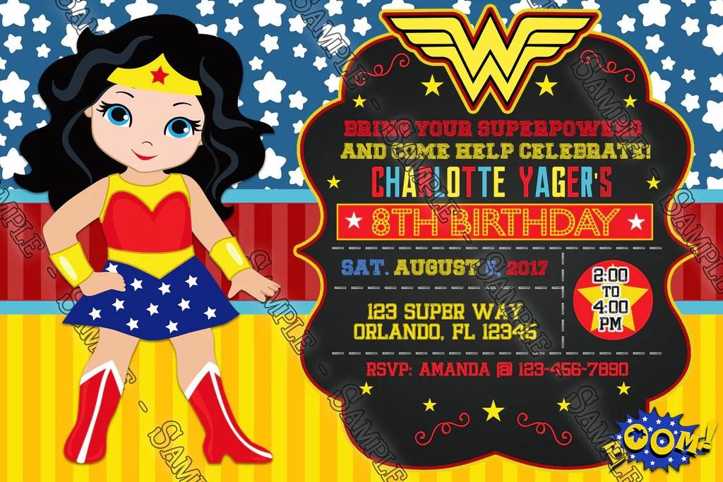wonder woman birthday party invitation