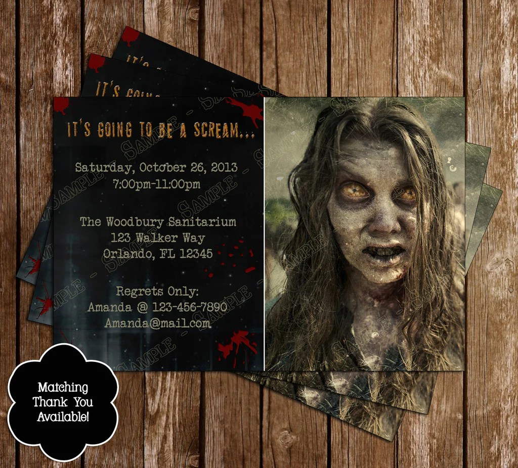 Walking Dead Birthday Party Invitation