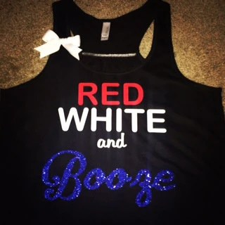 Red White and Booze  Ruffles with Love  Racerback Tank  Womens Fitn