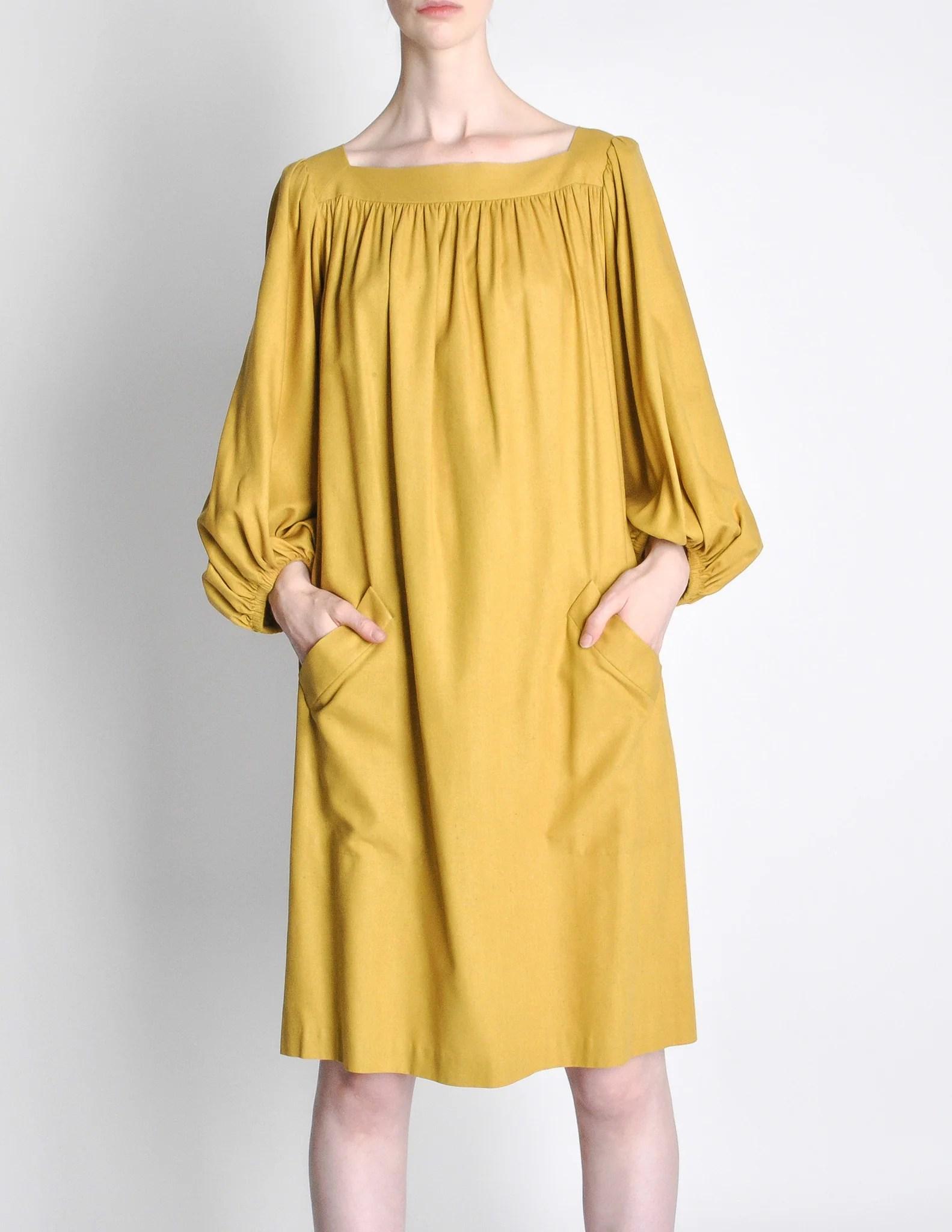 Yves Saint Laurent Rive Gauche Vintage Mustard Yellow Silk
