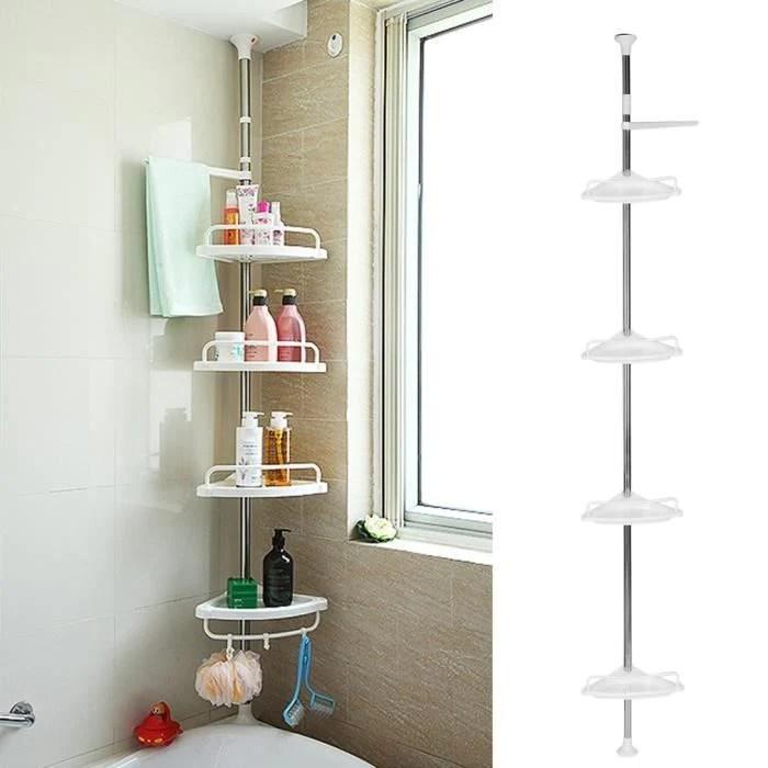etagere de douche telescopique caddy de salle de bain coin meuble de rangement st 32 en metal a 4 etages 90 cm 270 cm blanc
