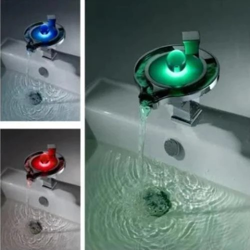 color changing led waterfall sink faucet