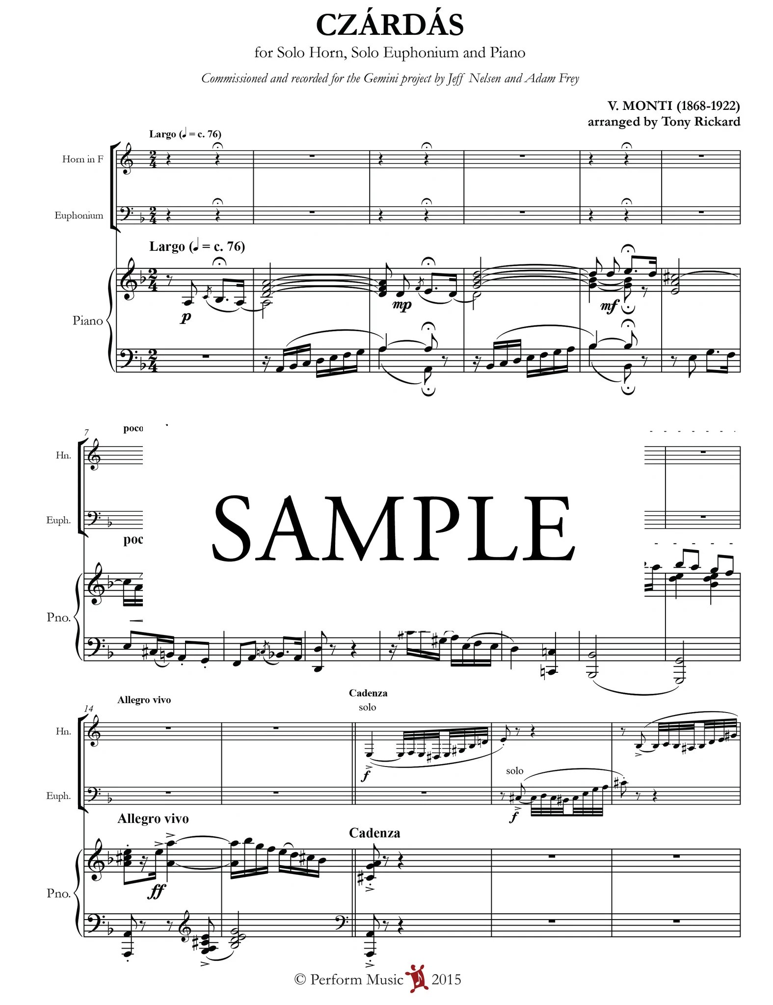 czardas for horn euphonium and piano [ 1575 x 2048 Pixel ]