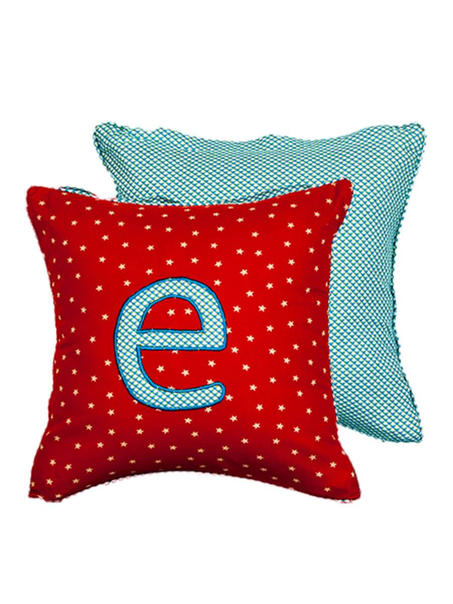 letter e cotton alphabet cushion cover 12 inch