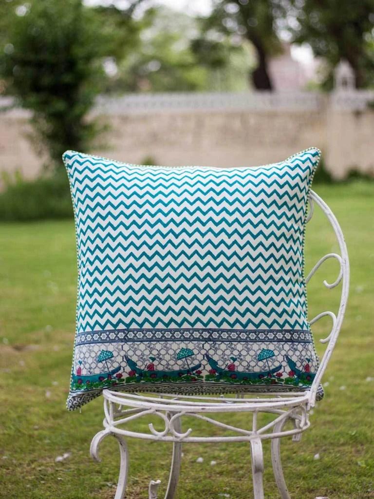 onam hand block print cotton cushion cover 24 inch