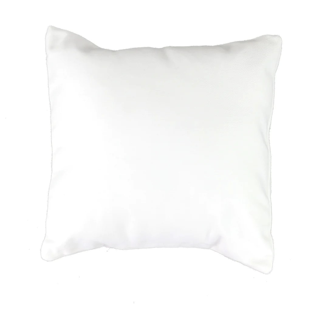 white canvas pillow cover with zipper square available in 4 sizes