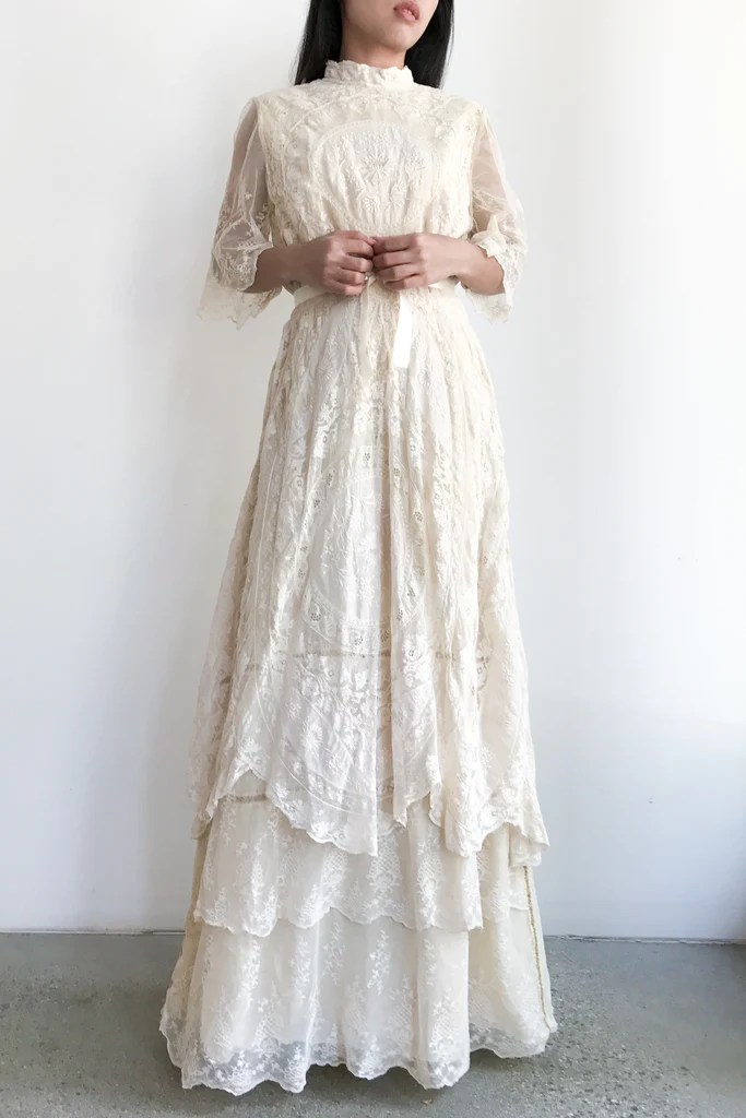 Antique Mixed Lace Cotton Embroidered Wedding Dress  S