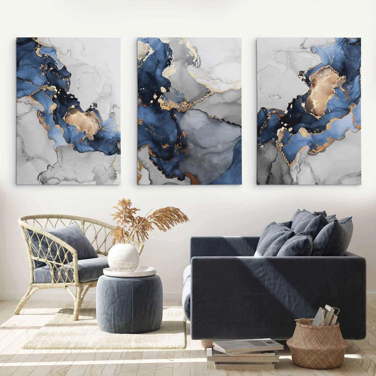 Set Of 3 Box Canvas Abstract Art Navy Blue Grey And Gold Artze Wall Art
