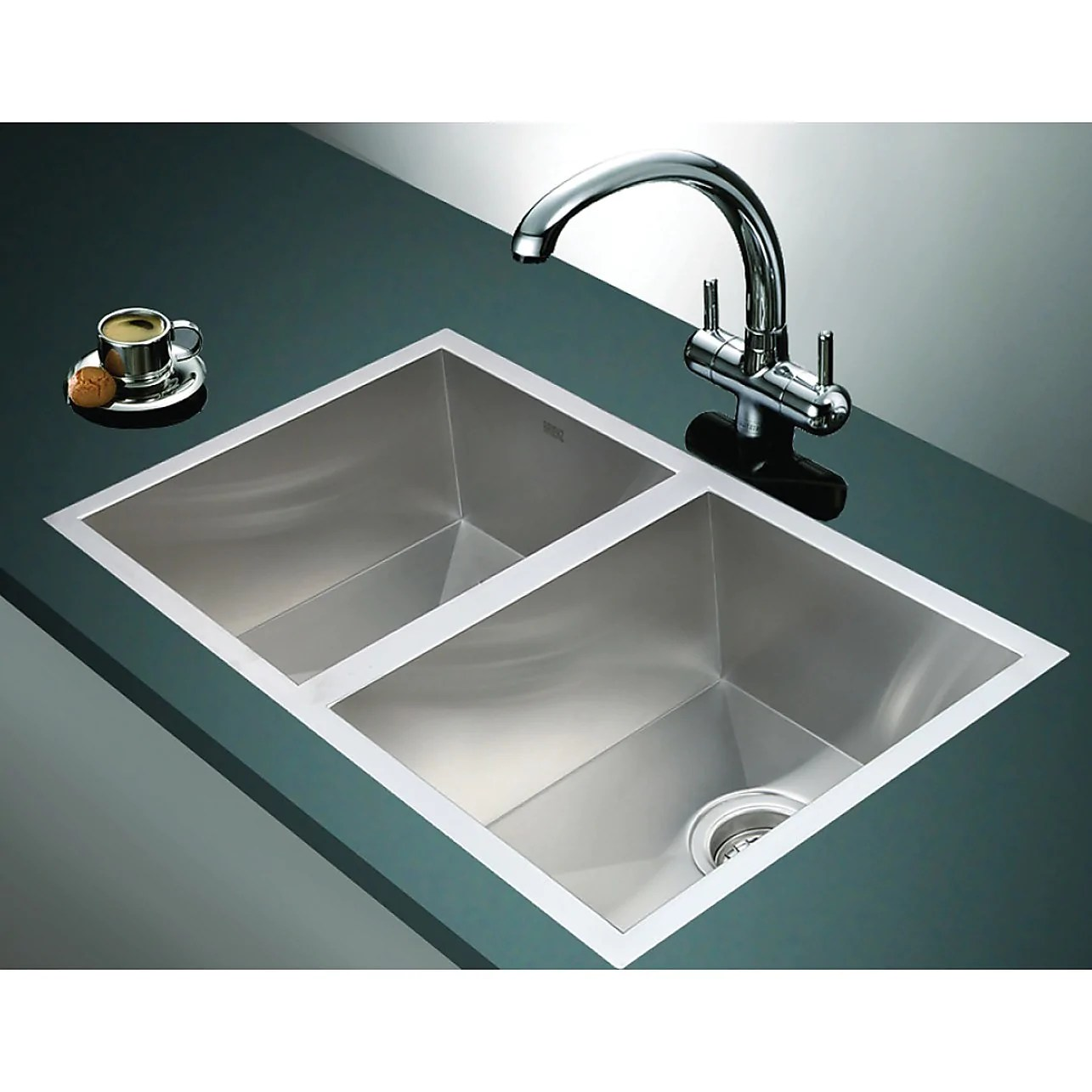 1 2mm handmade double stainless steel sink with waste 770x450mm