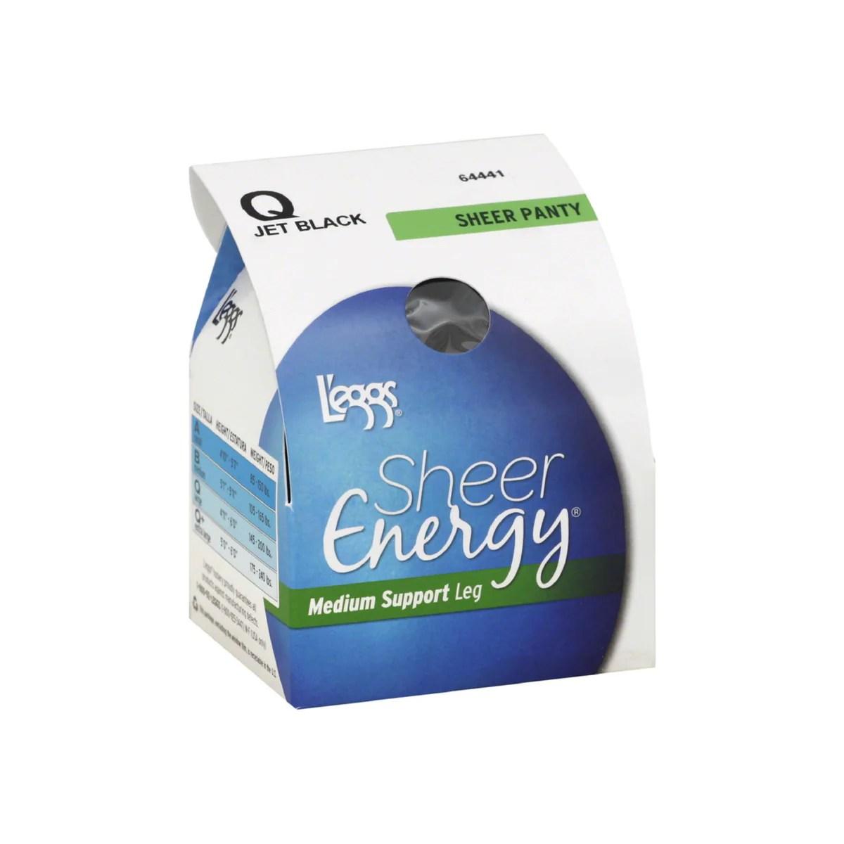 L'eggs Sheer Energy Pantyhose Size Jet Black 1 Ea