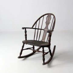 Woven Rocking Chair Barcelona Design History Antique Windsor With Rush Seat – 86 Vintage