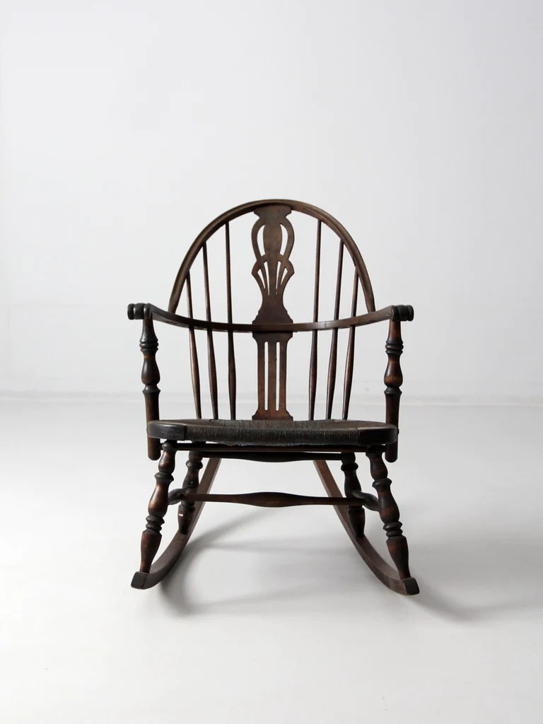 rocking chair height amazon loose covers antique windsor with rush seat – 86 vintage