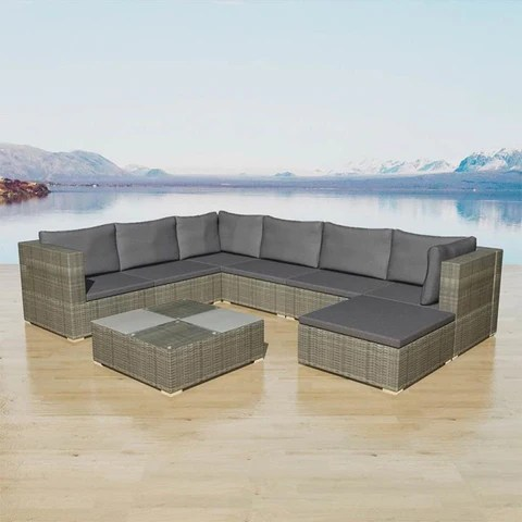 8pcs. Patio Lounge Sets with Dining Table and Rattan Sofas Garden Dining Set