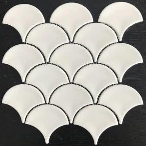 white fish scale mosaic tile