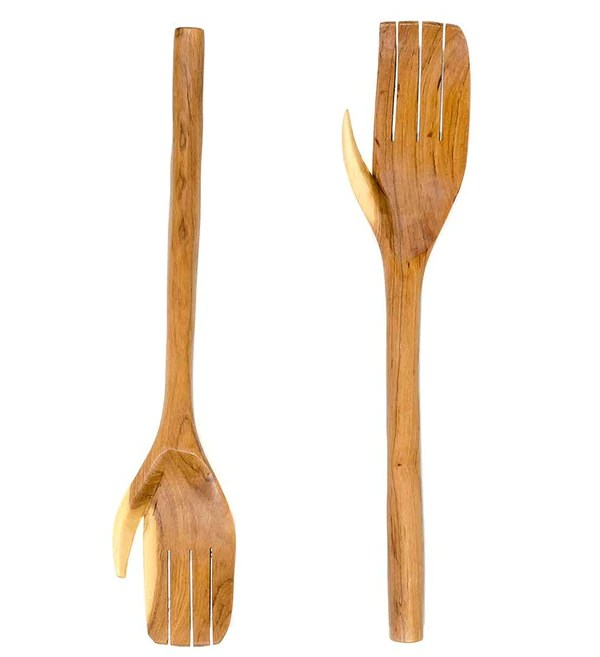 Wood Amp Bone Salad Server Hands African Wood Carving