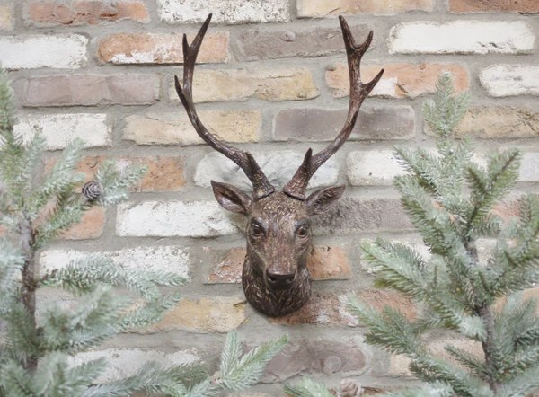 Bronzed Wall Stag Olive And Sage