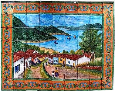 patzcuaro talavera mexican tile mural