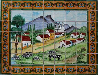 texas spanish town talavera tile mural