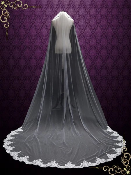 Cathedral Length Wedding Veil With Lace At The Hem