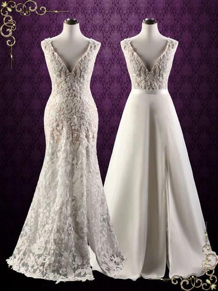 Convertible Lace Wedding Dress with Detachable Skirt  Arina  ieie
