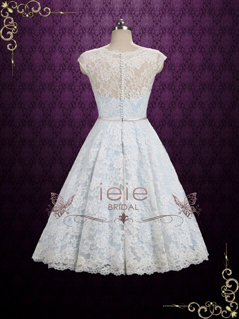 Ice Blue Vintage Lace Tea Length Wedding Dress Shannon