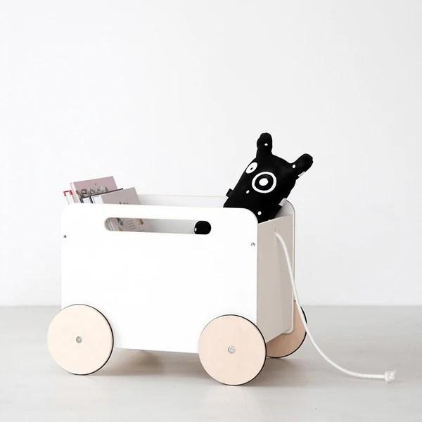Ooh noo houten opbergkar op wielen