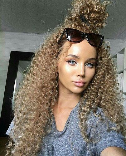 Lace Frontal Wigs Healthy Curly Hair Natural Curly Bun Best Women