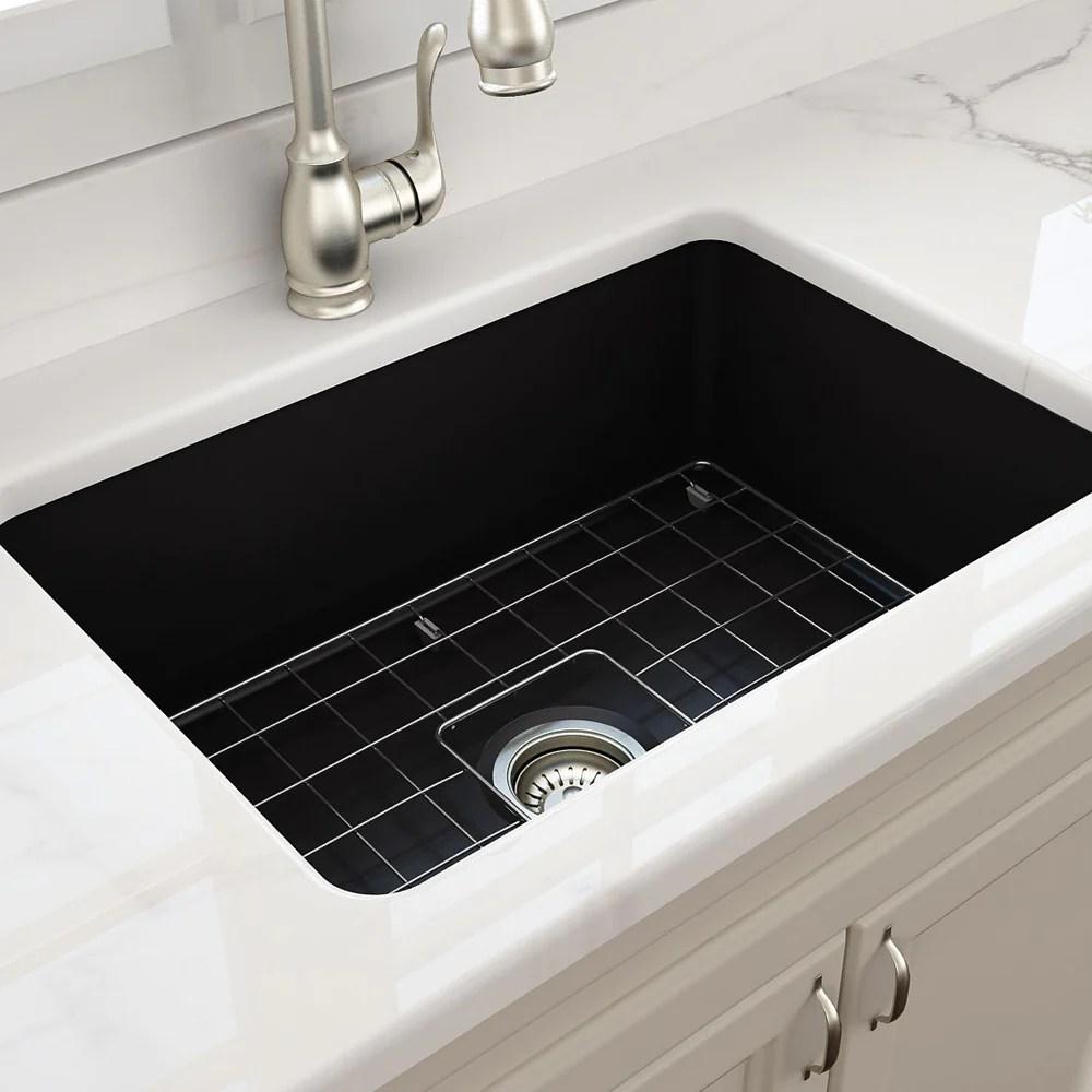 cuisine 68 x 48 inset undermount fine fireclay sink matte black