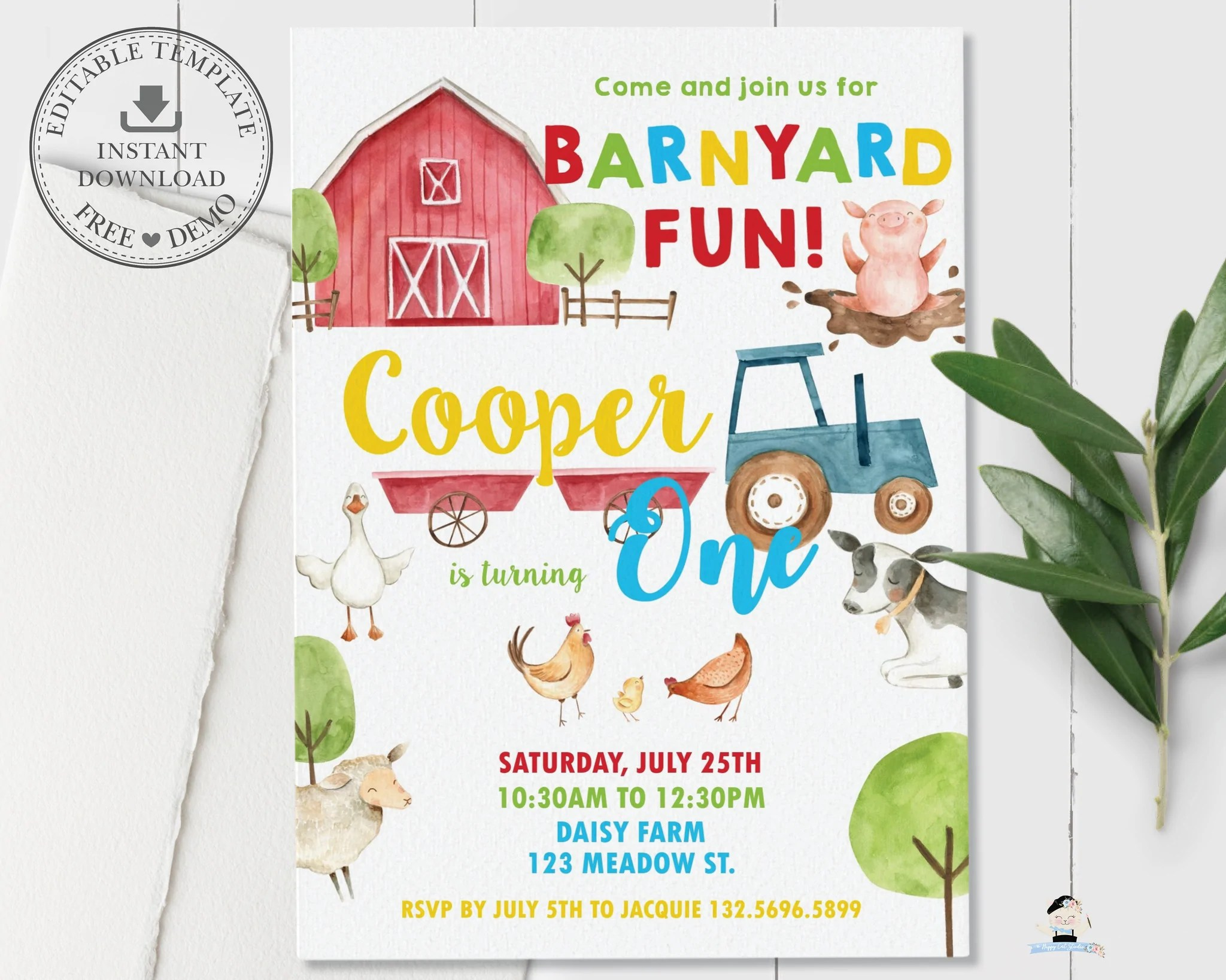farm animals barnyard fun personalized 1st birthday party invitation diy editable template instant download by1