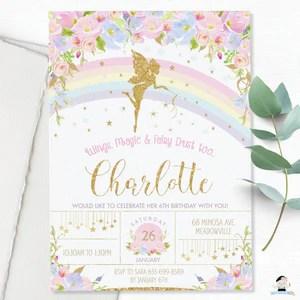 pink floral rainbow fairy birthday