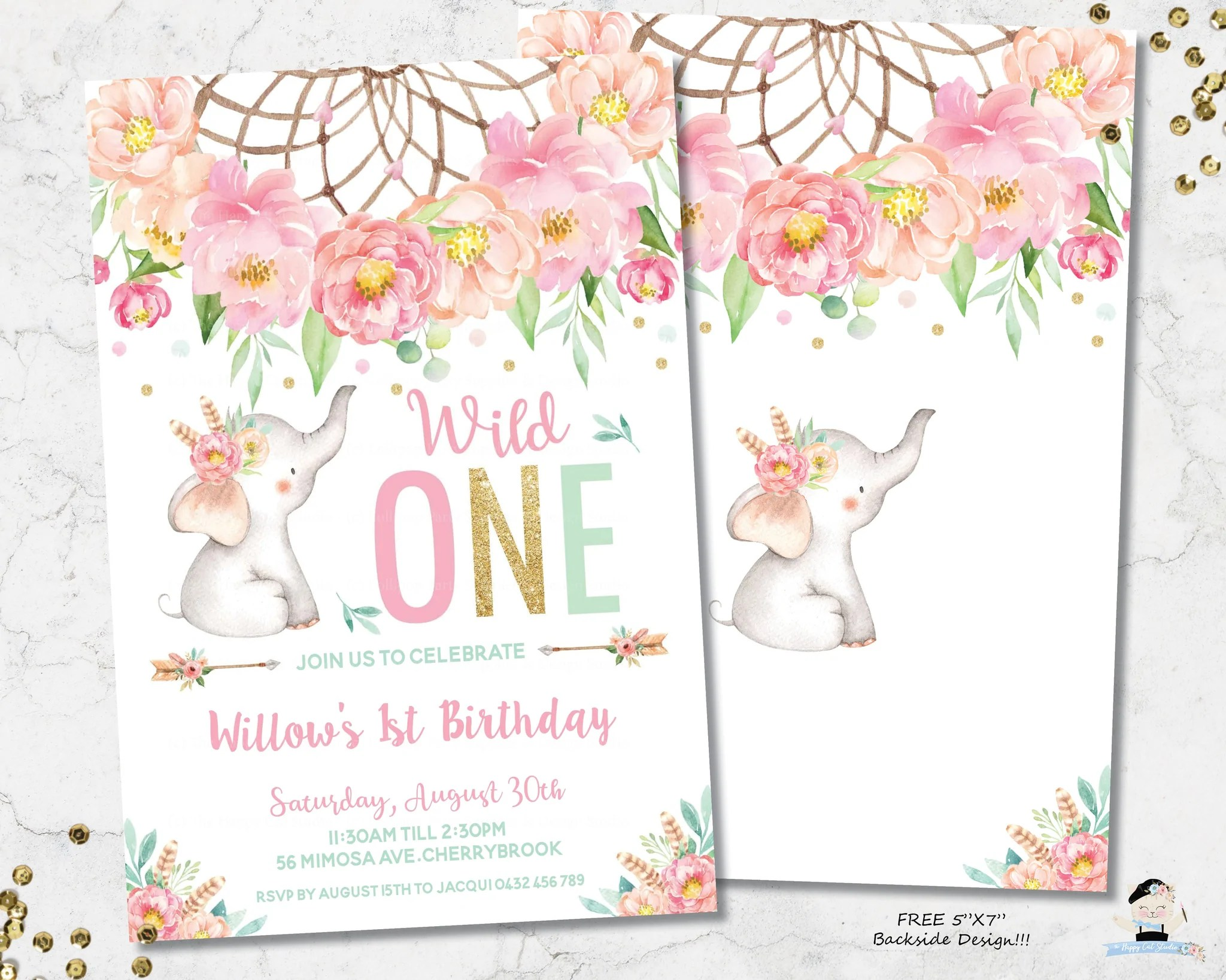elephant wild one boho pink floral dream catcher 1st birthday invitation editable template digital printable file instant download bf2