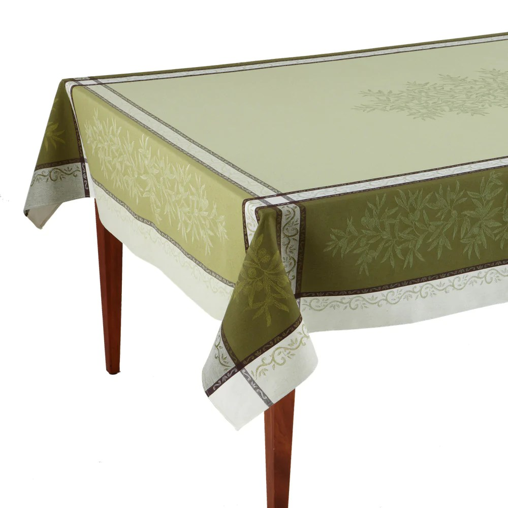 Olive Vert French Jacquard Tablecloth Occitan Imports