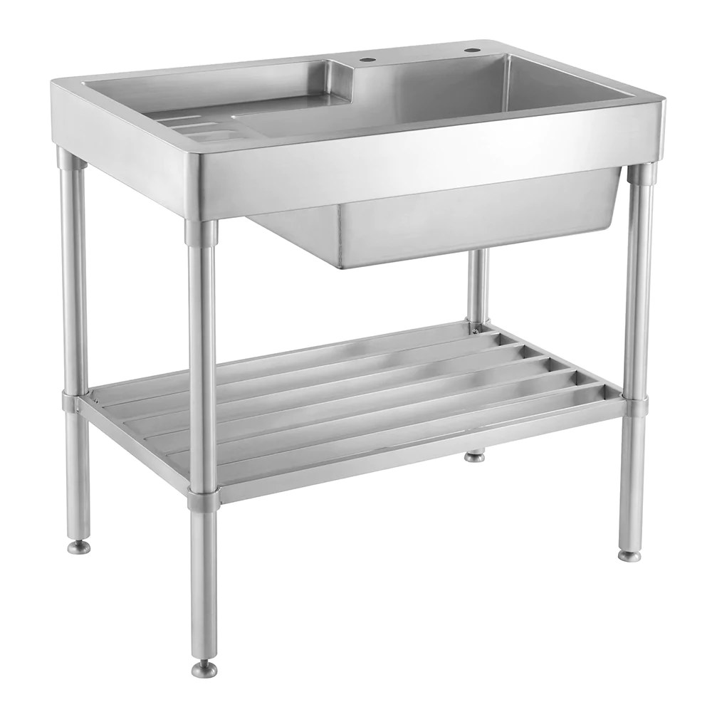 33 pearlhaus stainless steel single bowl freestanding sink with drainboard lower rack