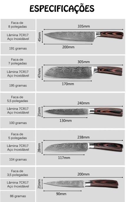 Especificações Kit 5 Facas Profissional de Chef - Aço Diamantada e Antiaderente Super Afiada
