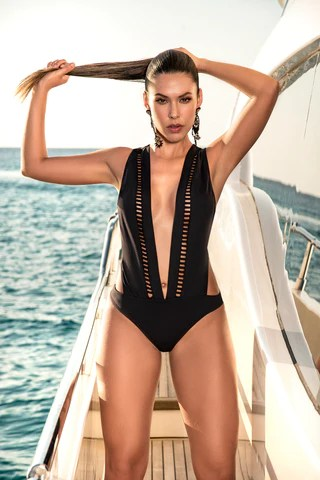 MP6533 - Deep V One Piece Swimsuit for Apple Bottoms