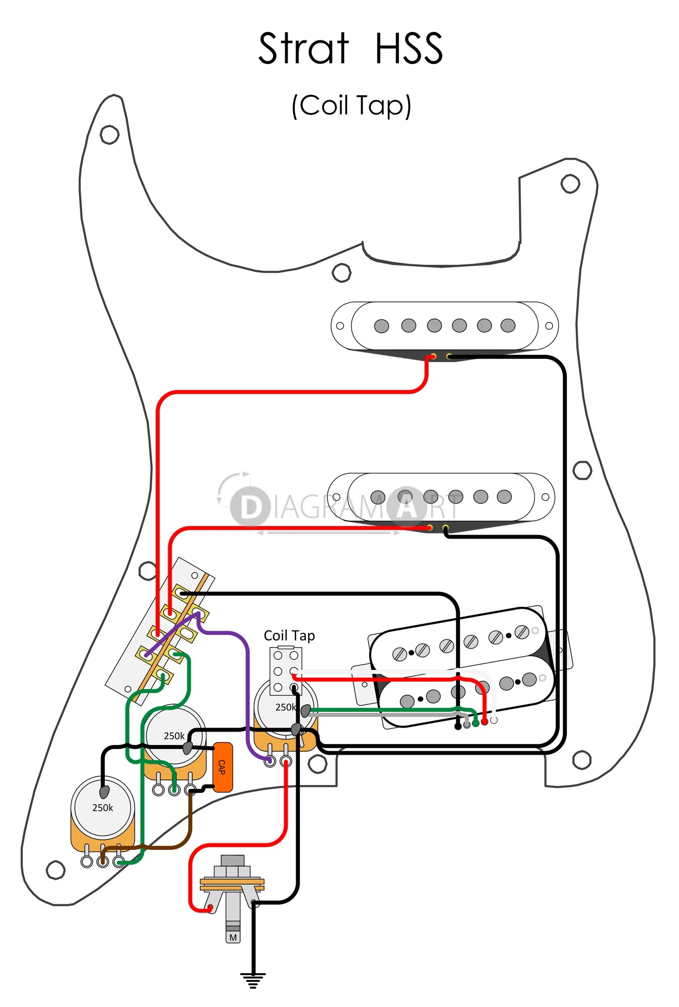 hss strat wiring diagram 1 volume tone mccb mcb electric guitar coil tap