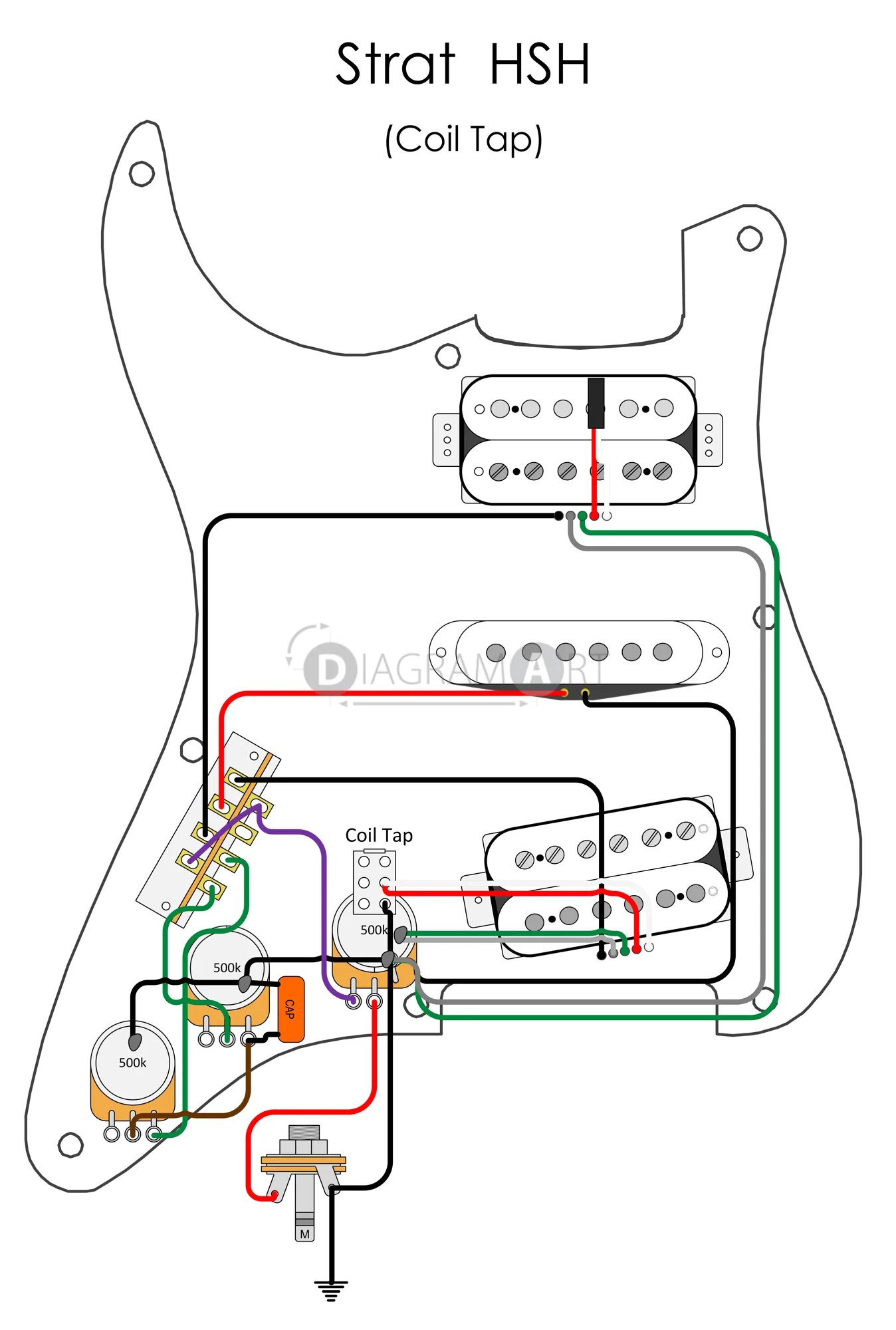 electric guitar wiring strat hsh coil tap electric circuit telecaster 3 way [ 1348 x 2000 Pixel ]