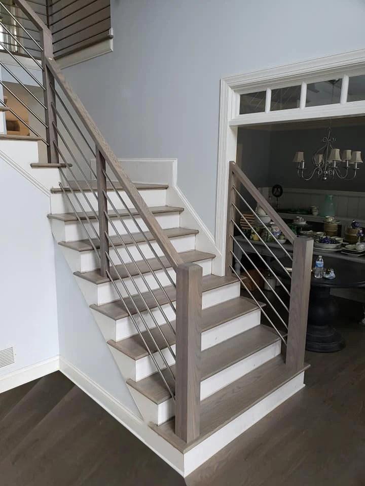 Midwest Stair Parts 5000 5001 Series Horizontal Round Bar Iron | Black Horizontal Stair Railing | Room | Split Entry | Steel | Modern | Metal