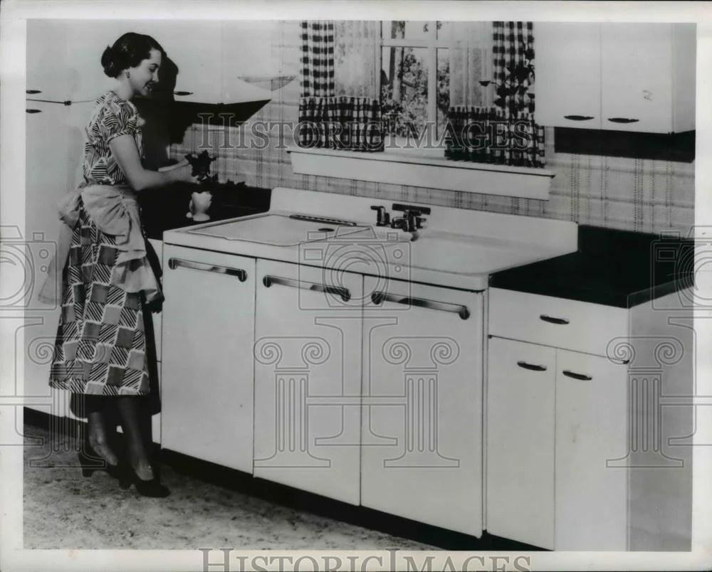 1949 press photo combination kitchen sink clothes washer dishwasher