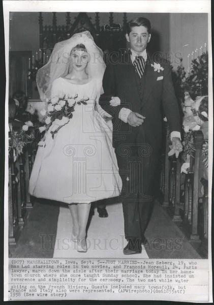 1958 Press Photo Actress Jean Seberg Lawyer Francois