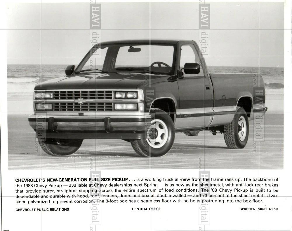 medium resolution of 1987 press photo 1988 chevrolet pickup truck historic images