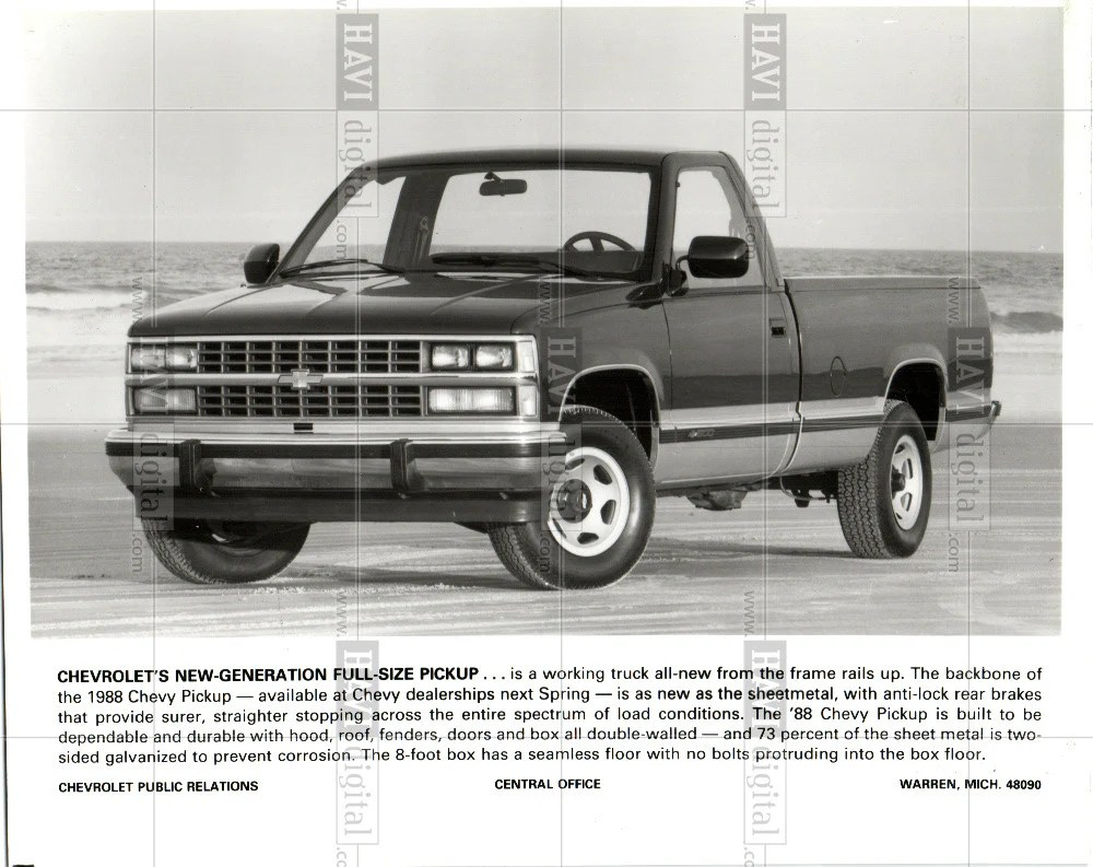 hight resolution of 1987 press photo 1988 chevrolet pickup truck historic images
