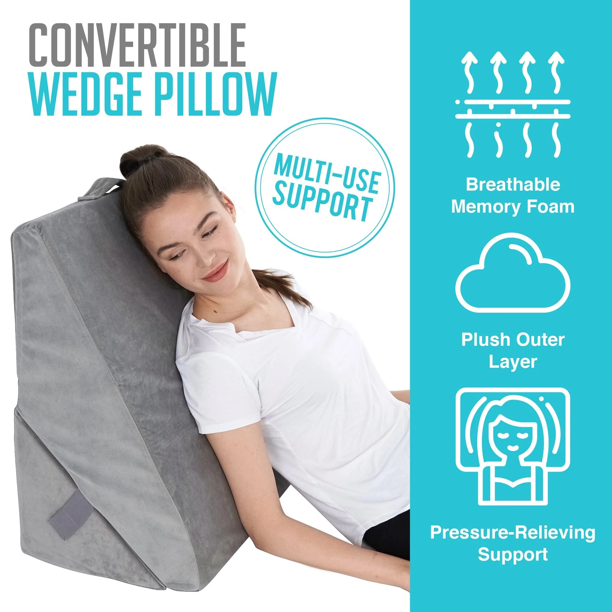 Bed Wedge Pillow Back Support Memory Foam Adjustable Folding Incl All Sett Health