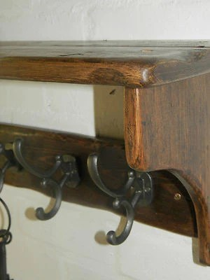 Reclaimed wood Hat and Coat Rack with shelf and Adison