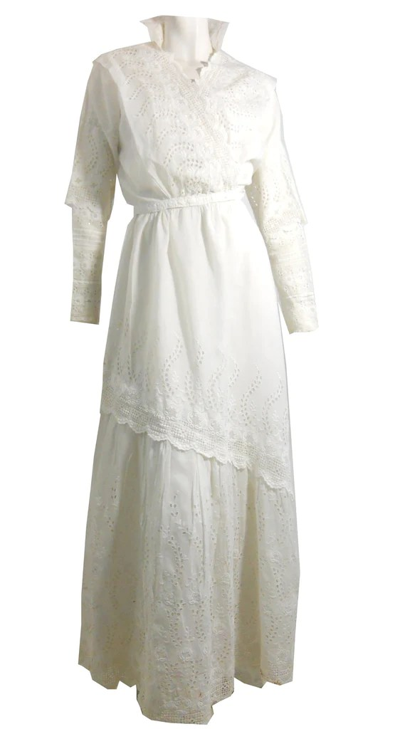 Romantic White Three Piece Lace and Cotton Wedding or Summer Dress cir  Dorotheas Closet Vintage